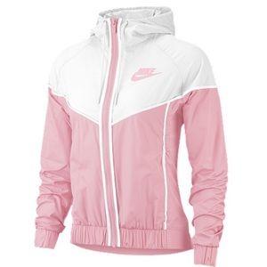 NEW Nike Pink & White Windbreaker Hooded Jacket